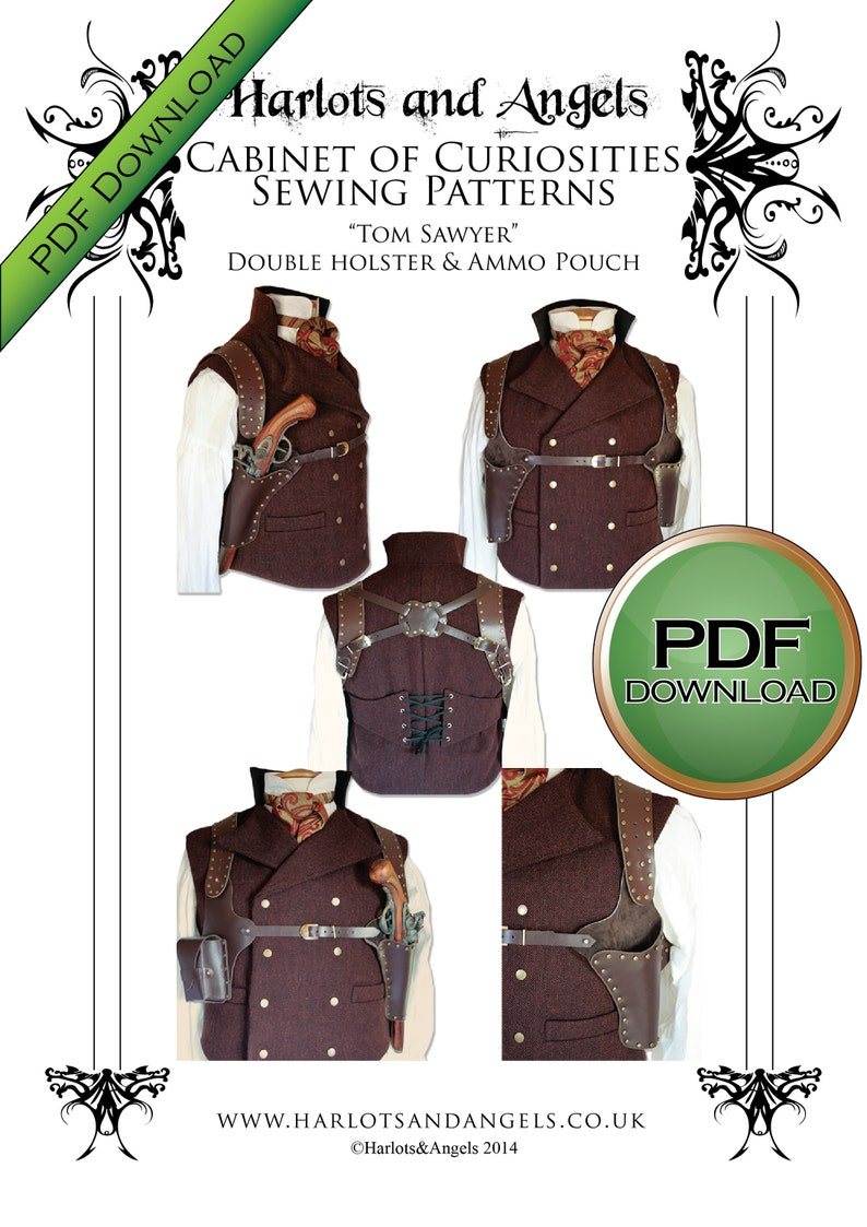 Steampunk Holster Pattern PDF download for Leather Work image 0