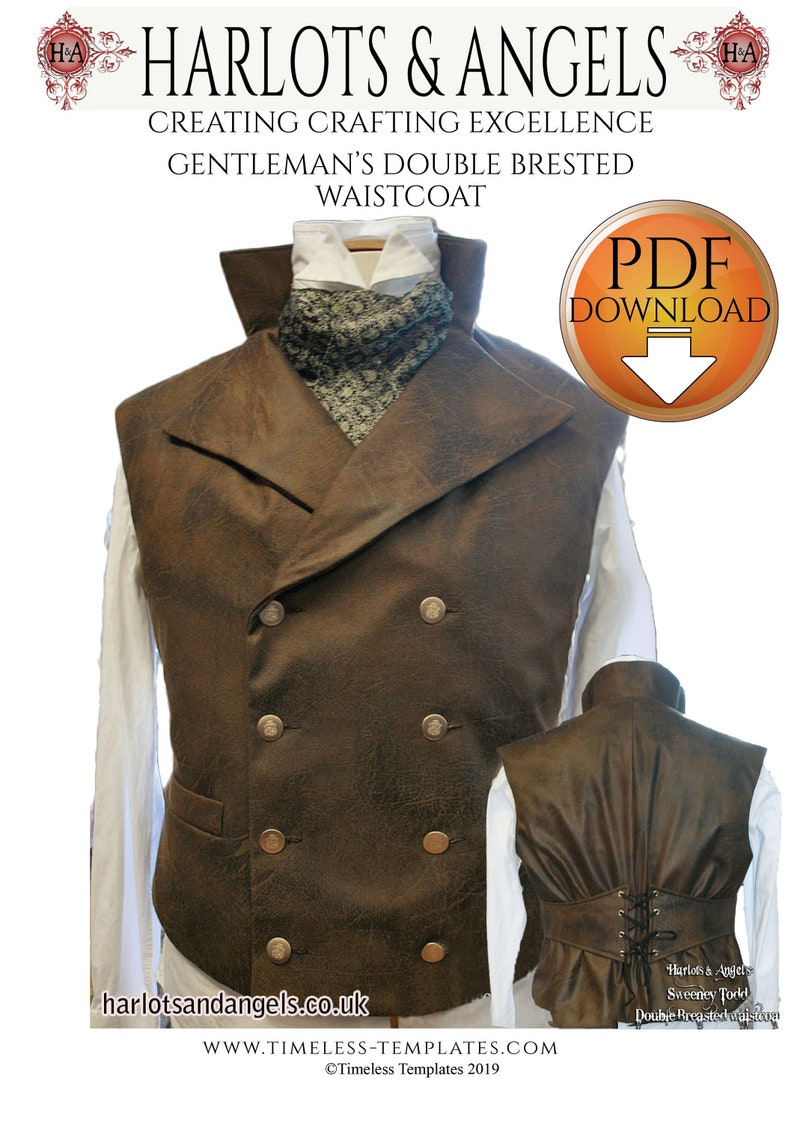 Waistcoat Sewing Pattern Victorian Vest Digital Download image 0