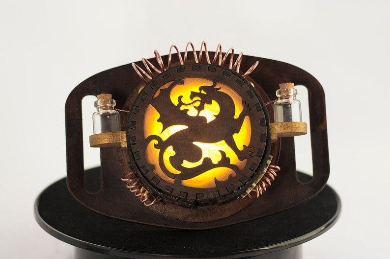 Steampunk Cosplay Dragon Lamp Costume Warm  Yellow image 0