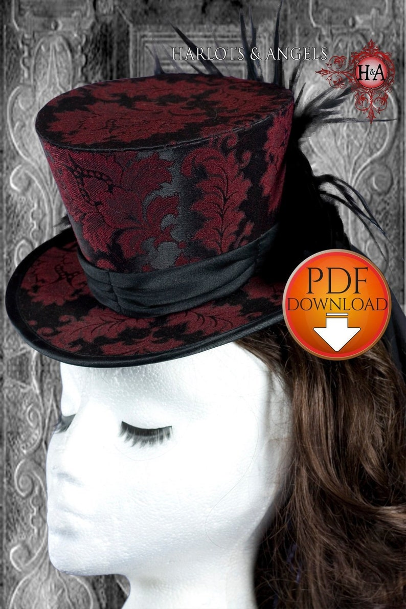 Hat Pattern Steampunk Top Hat Sewing Pattern Wedding Hat image 0