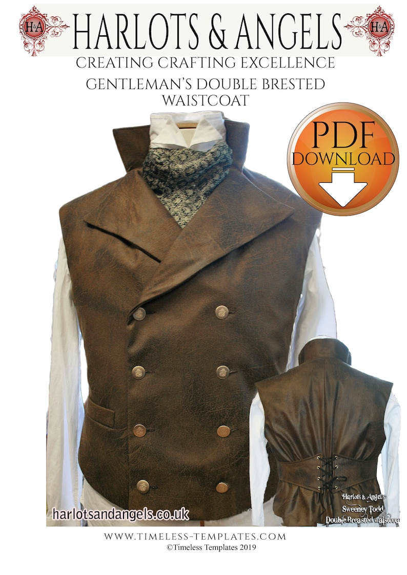 Sweeney Todd Style Waistcoat Sewing pattern. Steampunk image 0