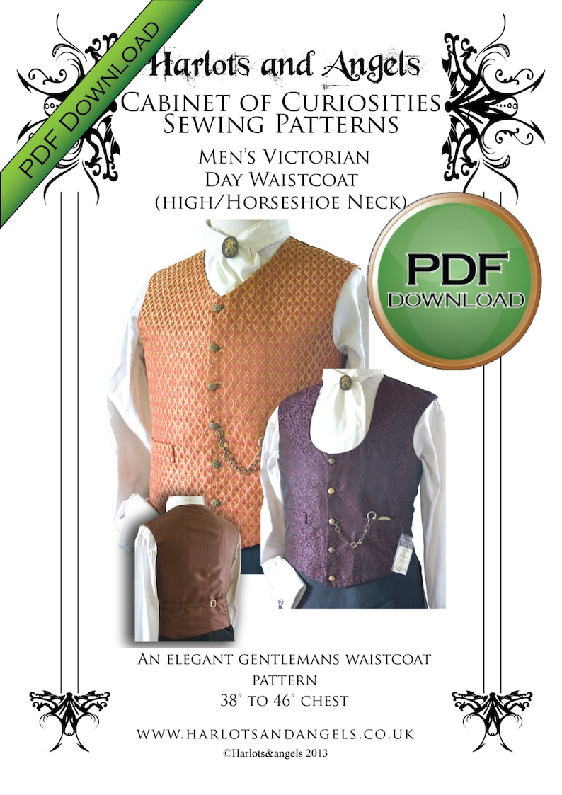 Edwardian Sewing Patterns- Dresses, Skirts, Blouses, Costumes Mens Waistcoat Sewing Pattern PDF Download Perfect For Victorian Steampunk Cosplay and Wedding Costumes $8.00 AT vintagedancer.com