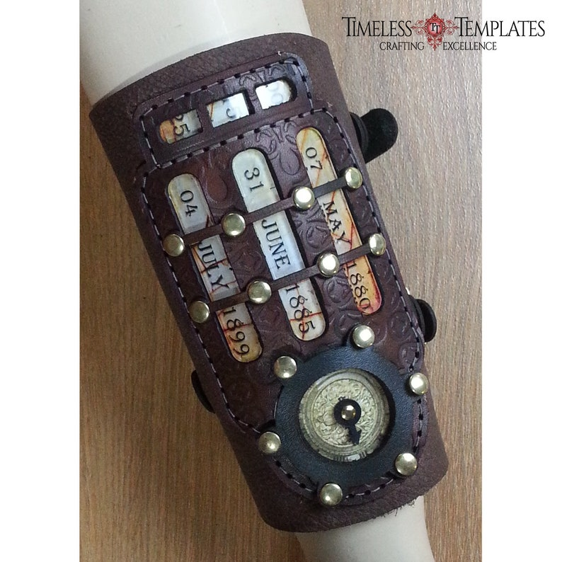 Steampunk Arm Bracer Cuff Real Brown Leather image 0