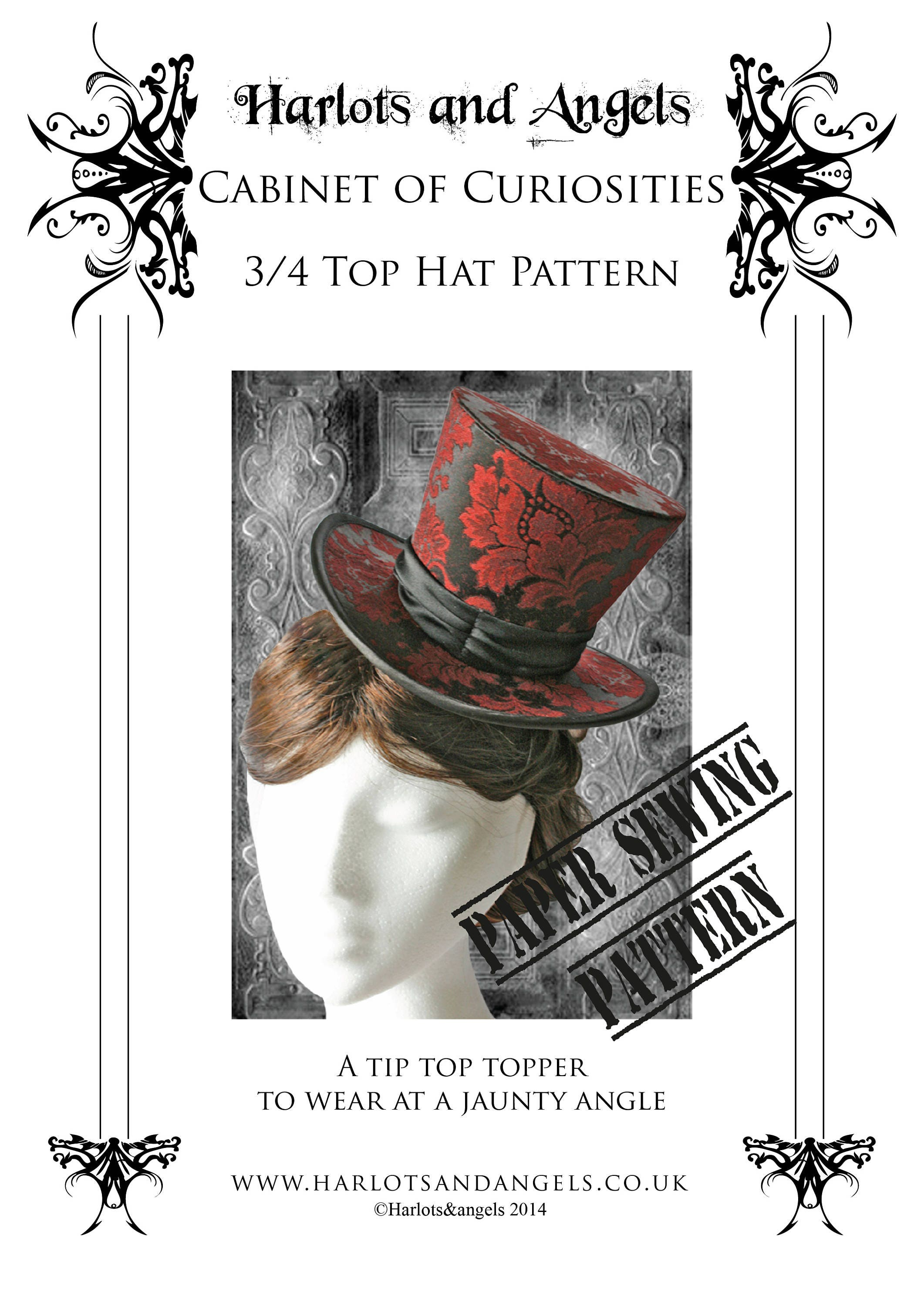 Steampunk Top Hat Making Paper Sewing Pattern Has Full Free Etsy