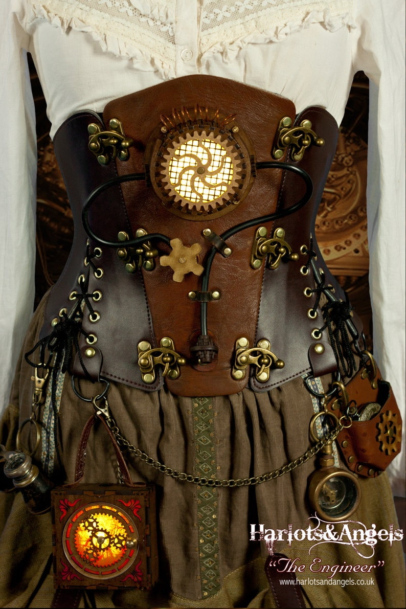 Steampunk Corset Belt Cosplay Costume Piece Brown Leather image 0