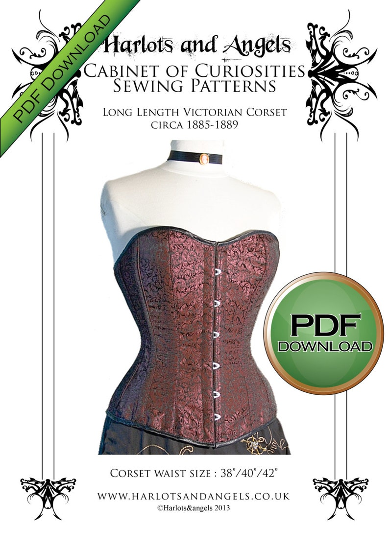 Instant Digital download Victorian Corset Sewing Pattern long image 0