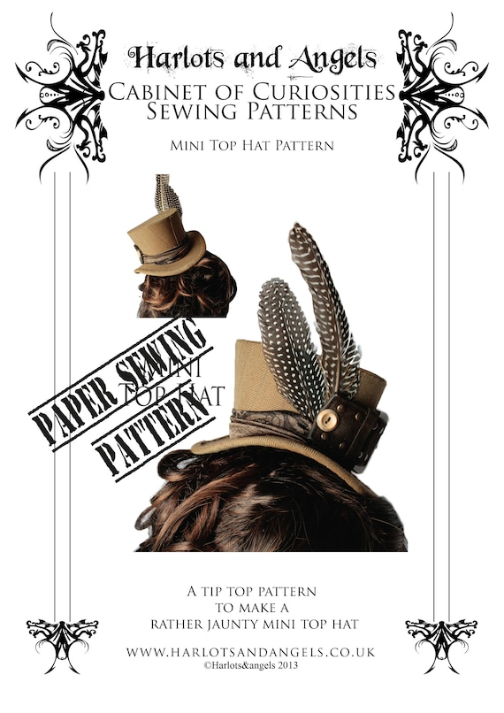Mini Top Hat Millinery Paper Sewing Pattern, gothic, burlesque ...