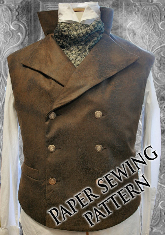 Xl Steampunk Double Breasted Waistcoat Vest Sewing Pattern Sweeney Todd Style 48 To 58 Chest