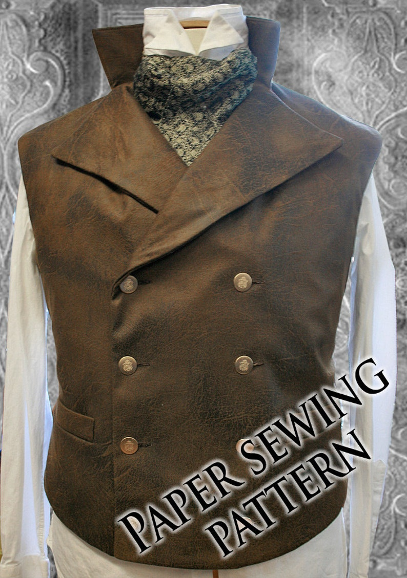 Xl Steampunk Double Breasted Waistcoat Vest Sewing Pattern Etsy