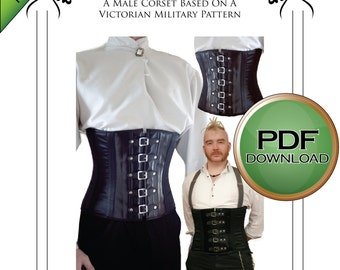 """Mens Corset Pattern, Steampunk Cosplay  Military Corset Sewing Pattern 28"""" - to 36"""" waists"""