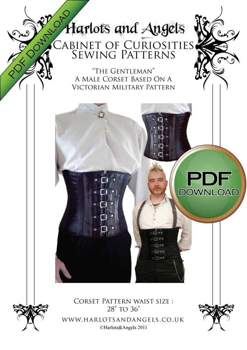 Mens Corset Pattern Steampunk Cosplay  Military Corset Sewing image 0
