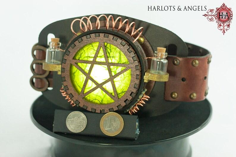 Steampunk Lamp Steampunk accessory Pentagram Green Cosplay image 0