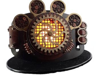 Brass Gold Steampunk Belt Lamp - Perfect unusual Christmas present - Slide on Any Belt - Orange Gold  Lamp