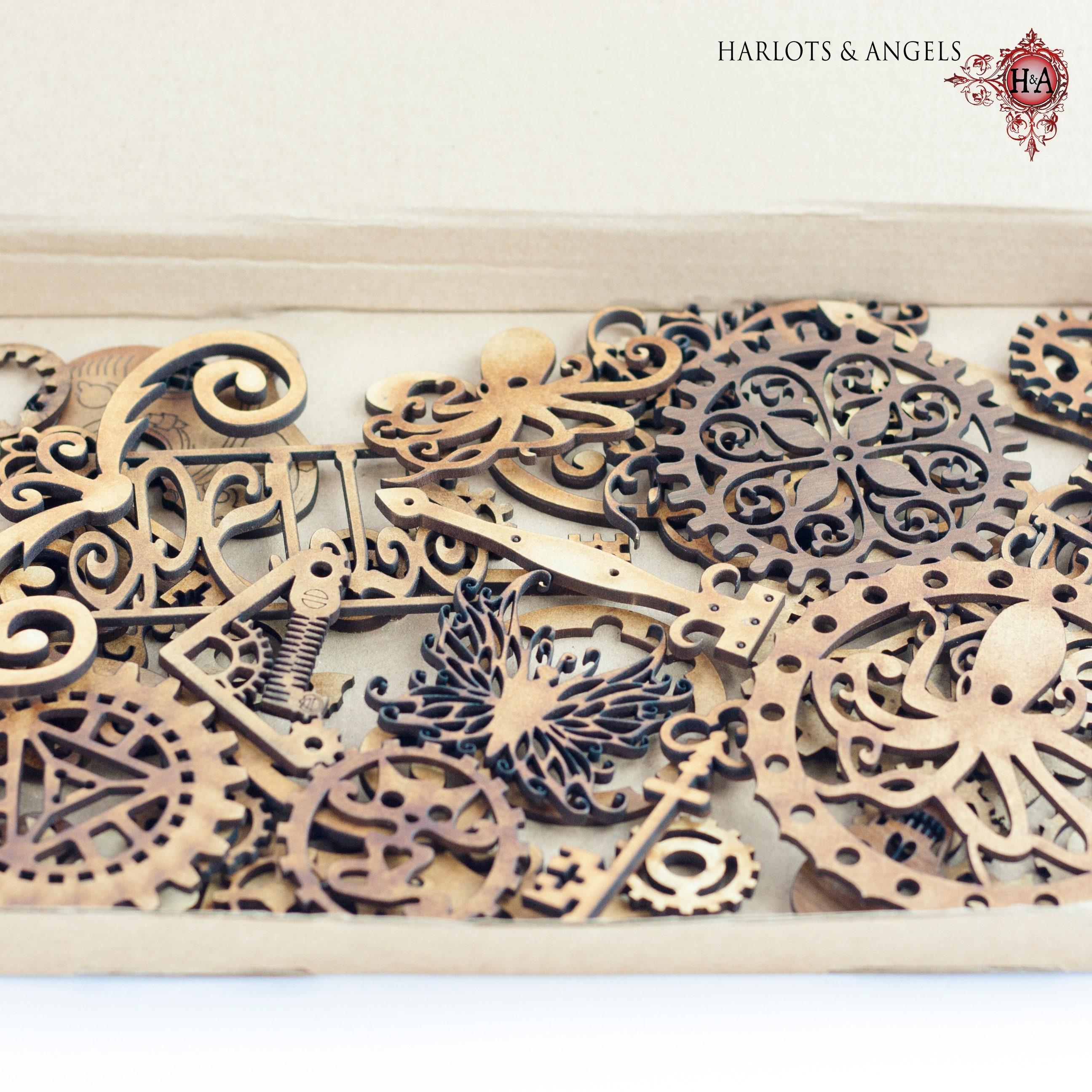 Embellishments Tag Decoration.2mm MDF Wood Steampunk Cog // Gears Craft Shapes