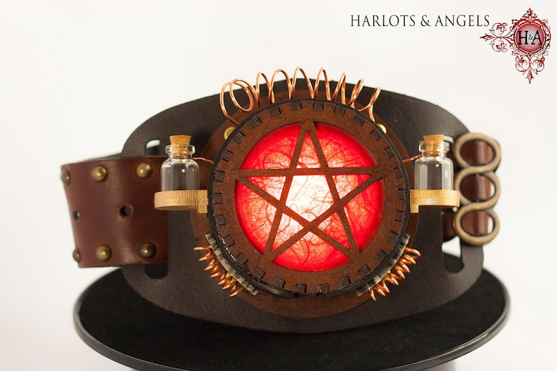 Steampunk Lamp Steampunk accessory Pentagram Red Cosplay image 0