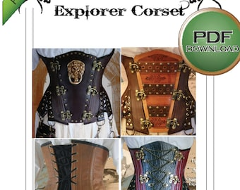 Corset Sewing Pattern Large Size For Steampunk Cosplay Pdf Digital Download.