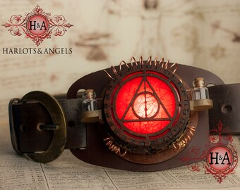Magical Steampunk Belt Lamp - One only Made - Wizard - Witch - Slide on Any Belt - Red lenses