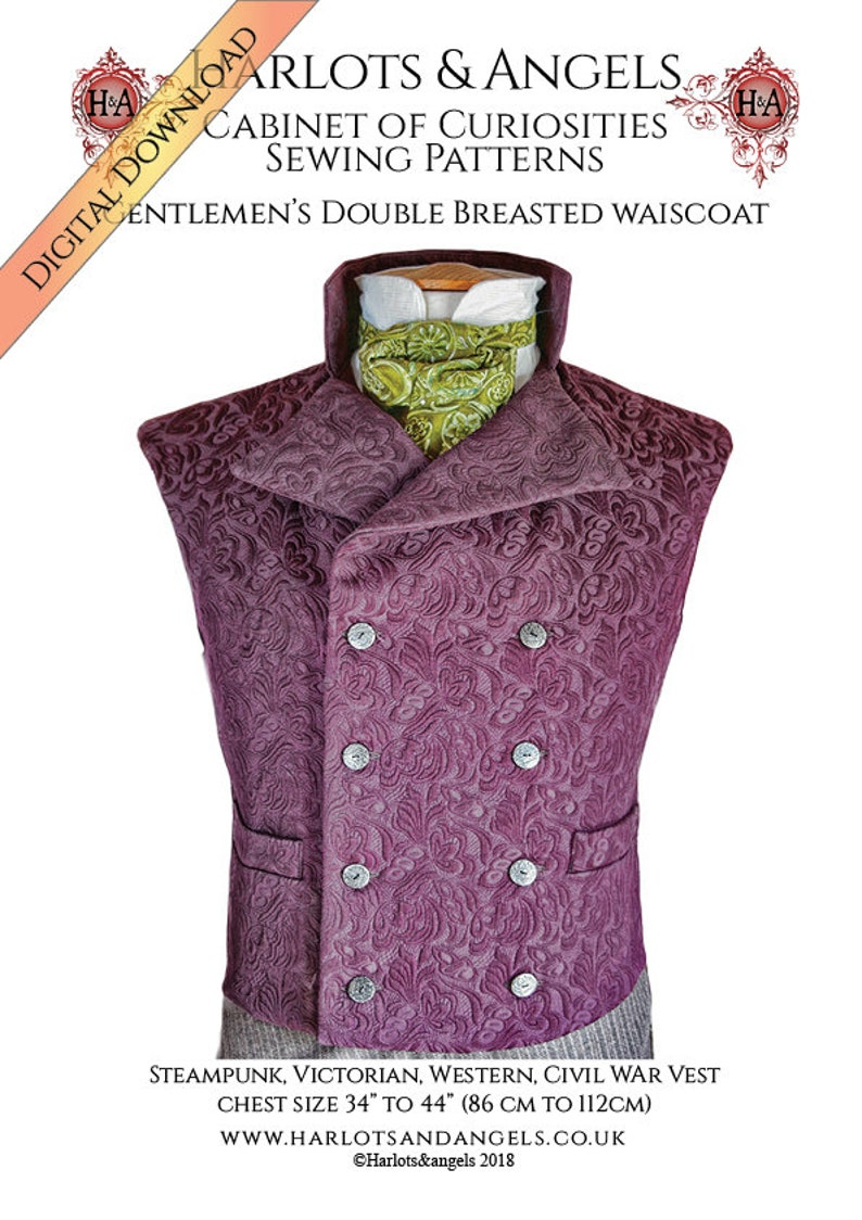 Steampunk Sewing Patterns- Dresses, Coats, Plus Sizes, Men's Patterns Steampunk Vest Sewing Pattern Medium Size Westworld Sweeney Todd Waistcoat Victorian Gilet  Instant download $12.00 AT vintagedancer.com