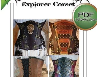 "Corset Sewing Pattern, Steampunk Under Bust Corset, PDF Digital Download. Sizes 38 -40 -42"" Waists Plus sized Steel boned"