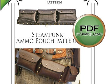 Steampunk Pattern, Leather Work, Digital Download Pattern, Ammo Pouch, Leather bag, Cosplay Sewing. Larp costume, PDF download, PDF Pattern