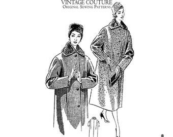 Vintage Sewing Pattern - 44 inch / 110cm Bust - Mrs. Maisel Style Winter Coat - Original French Vintage 1950s - English