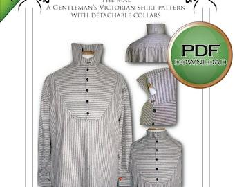 Mens' Sewing pattern. Victorian Steampunk Cosplay Shirt Pattern, PDF Digital Download, Great For Weddings, Larp, Firefly, Sherlock Costumes