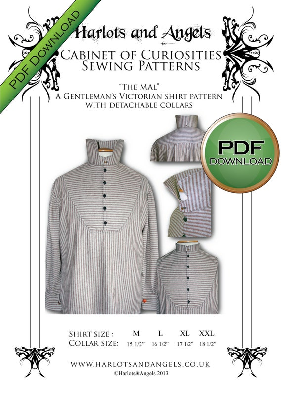Mens Sewing Pattern Victorian Steampunk Cosplay Shirt Etsy