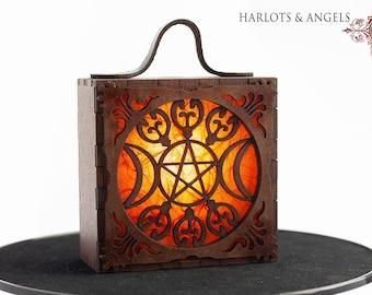 Magical Lamp Triple Goddess wearable Lantern,Ember Orange