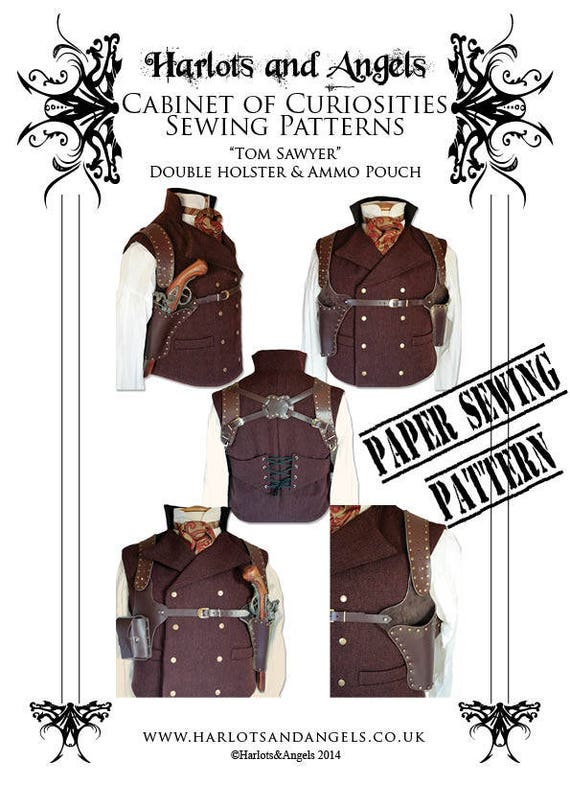 Steampunk Holster Pattern Leather Work Paper Pattern For Etsy Classy Holster Patterns