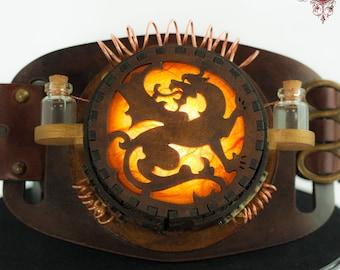 Steampunk Cosplay Dragon Lamp Costume -Gold & Orange to Wear