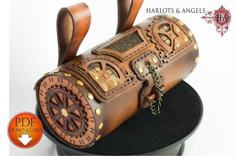 Leather Bag Pattern PDF Download  Steampunk Style with Video image 0