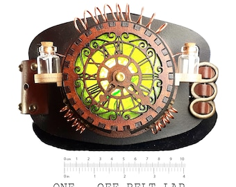 Only One Made -Green Steampunk Clock Belt Lamp - Perfect unusual Christmas present - Slide on Any Belt - Green Lamp