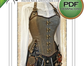 Corset Sewing Pattern,  Large size Perfect to Sew for Pirates & Steampunks, Great Design for Gothic and Larp, Digital Download PDF