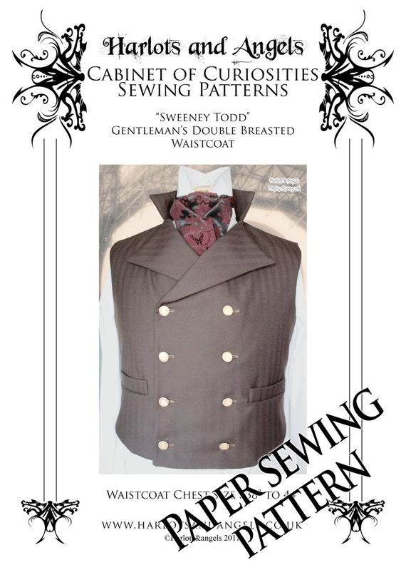 Mens Sewing Pattern For Vest Waistcoat In Medium Size Steampunk Cosplay Paper Sewing Pattern Sweeney Todd