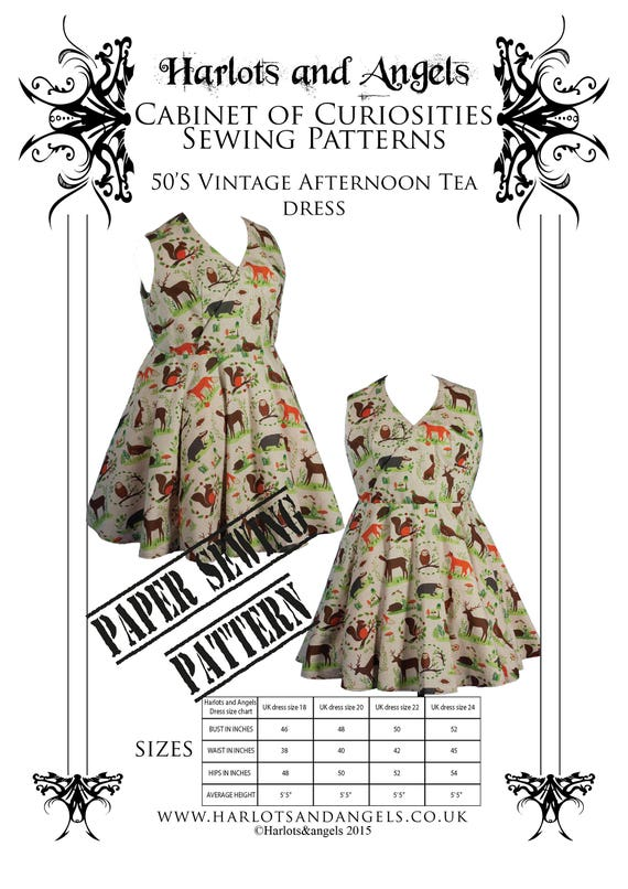 Vintage Plus sized Dress 50\'s style. Paper Sewing pattern. Drafted for  curvy figures UK sizes 18-24