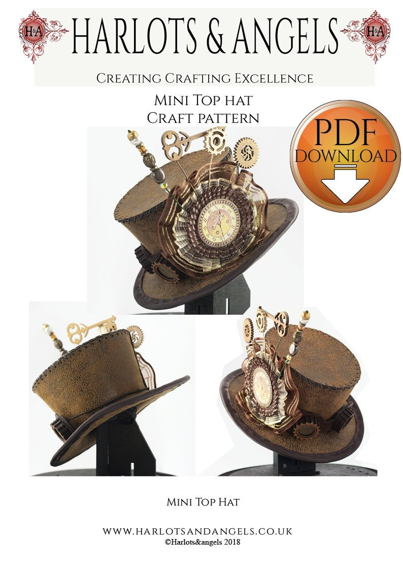 Steampunk Easy Pattern For Mini Top Hat in Leather or Fabric image 0
