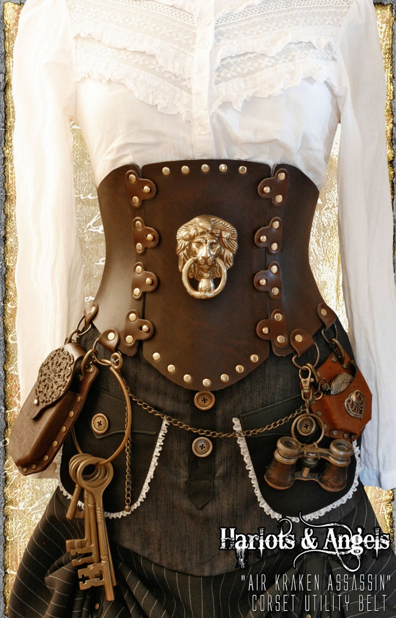 Steampunk Corset Belt with Brass Lion for cosplay and Larp image 0