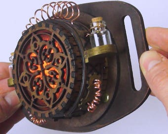 Steampunk Gadget - Steampunk Lamp -  Hand tooled Brown Leather - Dark wood Steampunk belt lantern - Utility Belt accessory
