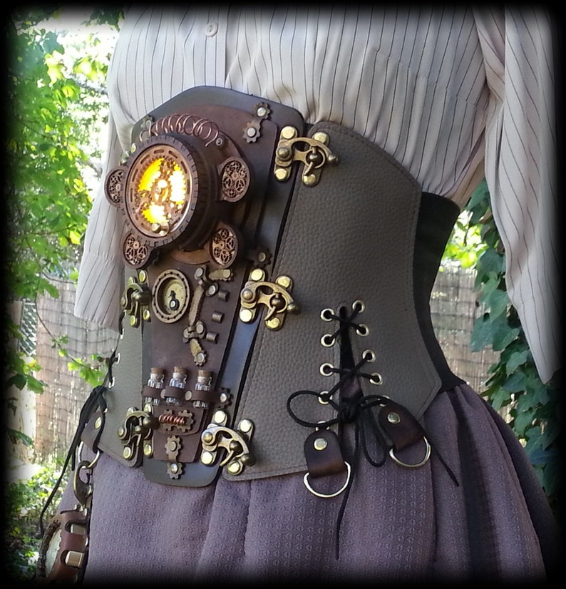 Steampunk Corsets & Belts | Underbust, Overbust Steampunk Corset Belt Cosplay Costume Outfit Burning man Cyberpunk Dieselpunk Leather corset All Sizes See Video On Instagram $320.00 AT vintagedancer.com