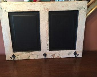 Vintage White Cabinet Door Chalkboard Coat Hanger