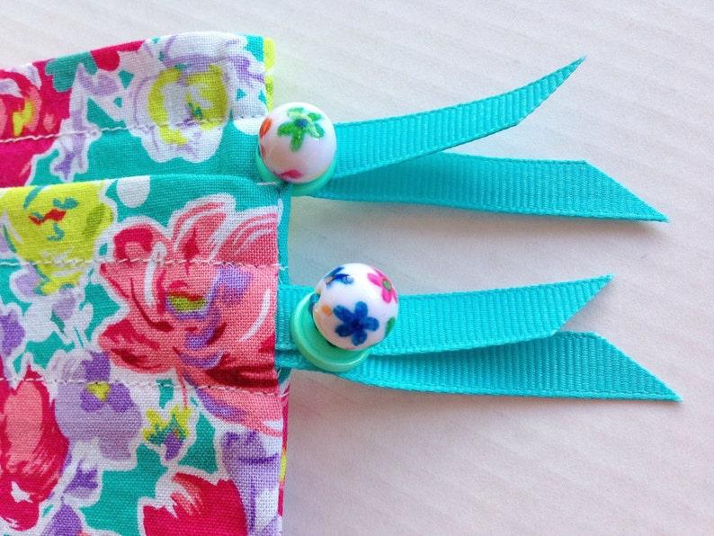 Aqua Polka Dot Garden blue green purple red white Pretty Simple Drawstring Project Bag Set
