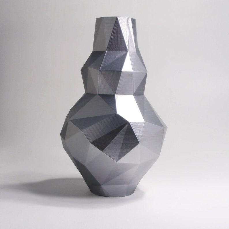 c0905052d3 Silver Flower Vase Metallic Decor Interior Design Futuristic | Etsy