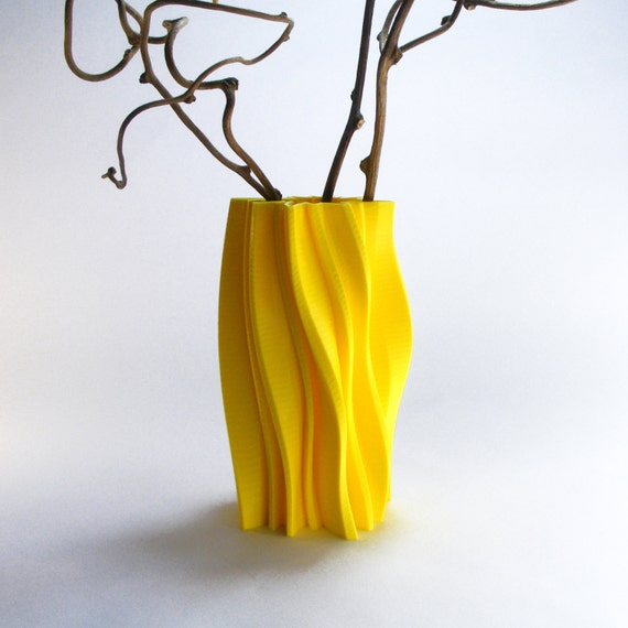 Modern Wave Vase Abstract Vase Yellow Vase Modernist Decor Etsy