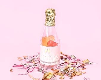Champagne Bottle Gummy Bears Rose Brut Flavored Party Favors Cheers Non-Alcoholic Bachelorette Bridal Party Showers