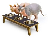 LAST ONE! ~ CHARCOAL ~ Mid Century Modern Pet Feeder | Elevated Cat & Dog Bowl | mcm Walnut Pet Dish | 16 oz Stainless Bowls