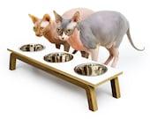 LAST ONE!  ~ WHITE ~ Mid Century Modern Pet Feeder | Elevated Cat & Dog Bowl | mcm Walnut Pet Dish