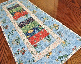 Quilted Aqua Blue Floral Table Runner, Quilted Stacked Coin Table Runner, Handmade Table Runner, Floral Table Topper
