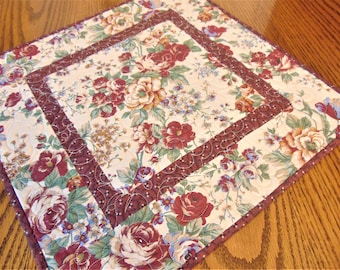 Quilted Burgundy and Cream Table Topper, Quilted Table Runner, Floral Table Topper, Handmade Table Runner, Table Quilt, Rustic Table Decor