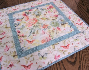 """Quilted Bird Table Topper, Blue Birds and Butterflies, Nature Lover Gift, 20 X 19 1/2"""""""