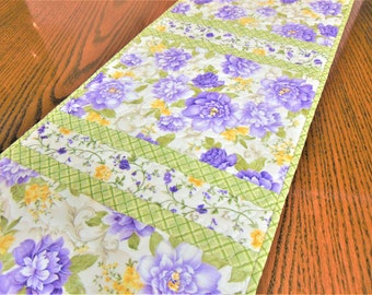 Quilted Lilac and Green Floral Table Runner, Quilted Table Runner, Handmade Table Runner, Shabby Chic Table Quilt, Quilted Table Topper